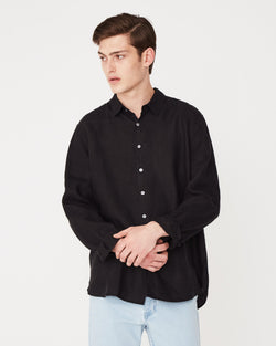 Assembly Label Casual Longsleeve Shirt Black Front View Close