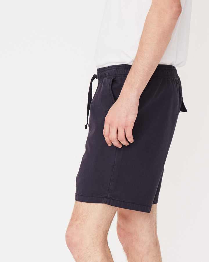 Assembly Label Contrast Linen Short Worn Navy Side View