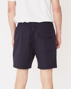 Assembly Label Contrast Linen Short Worn Navy Back View