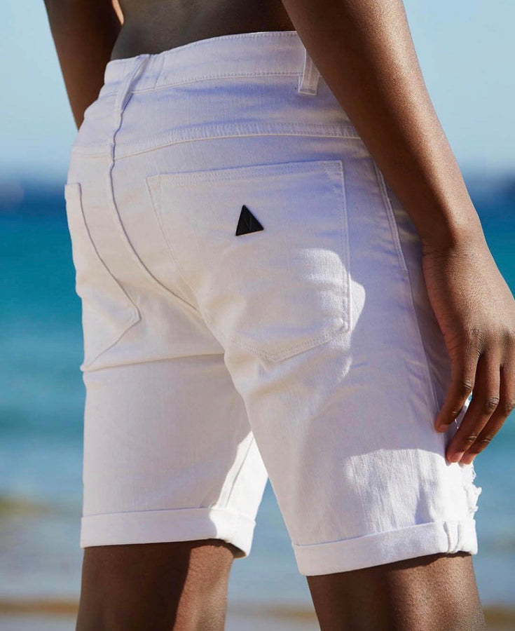 A BRAND A Dropped Skinny Short Rogue White Back View