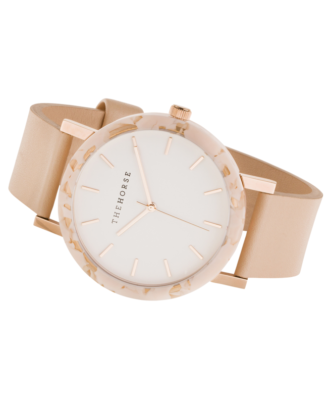 THE HORSE - The Resin Peach Speckle Watch