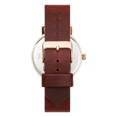 THE HORSE - Original Rose Gold Watch Wine Strap