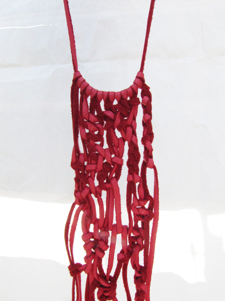 Leather Macrame Necklace