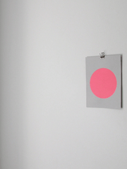 Circle Screenprint on Paper-Neon Pink