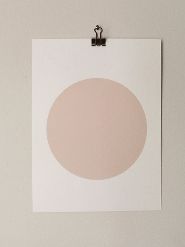 Circle Screenprint on Paper-Nude on Grey