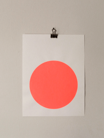 Circle Screenprint on Paper-Neon Orange