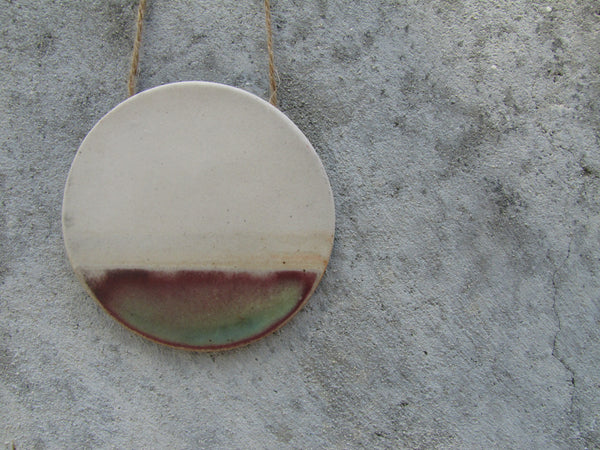 Watercolor Circle Ceramic Wall Hanging-turquoise+raspberry