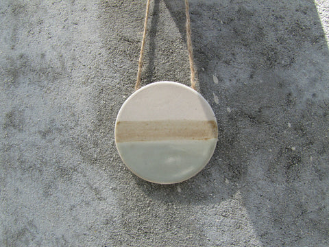 Watercolor Circle Ceramic Wall Hanging-sand+sky