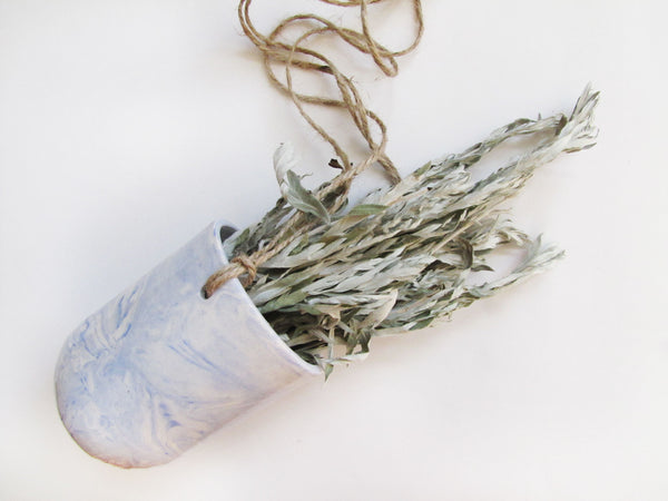 Marbled Blue Ceramic Hanging Pot
