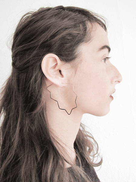 Shadow Hoop Earrings-Zig Zags, Long