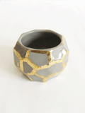 Grey+Gold Faceted Vase