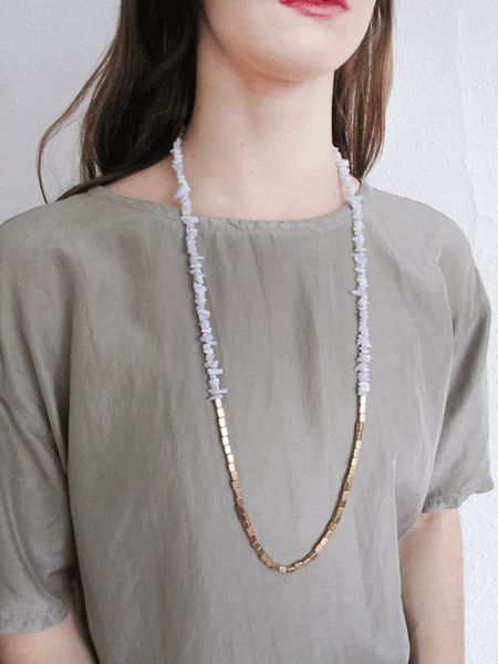 Stone Disco Necklace-Blue Lace Agate