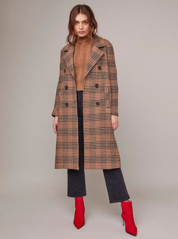 ASTR – THE VERNON COAT IN CHESTNUT PLAID