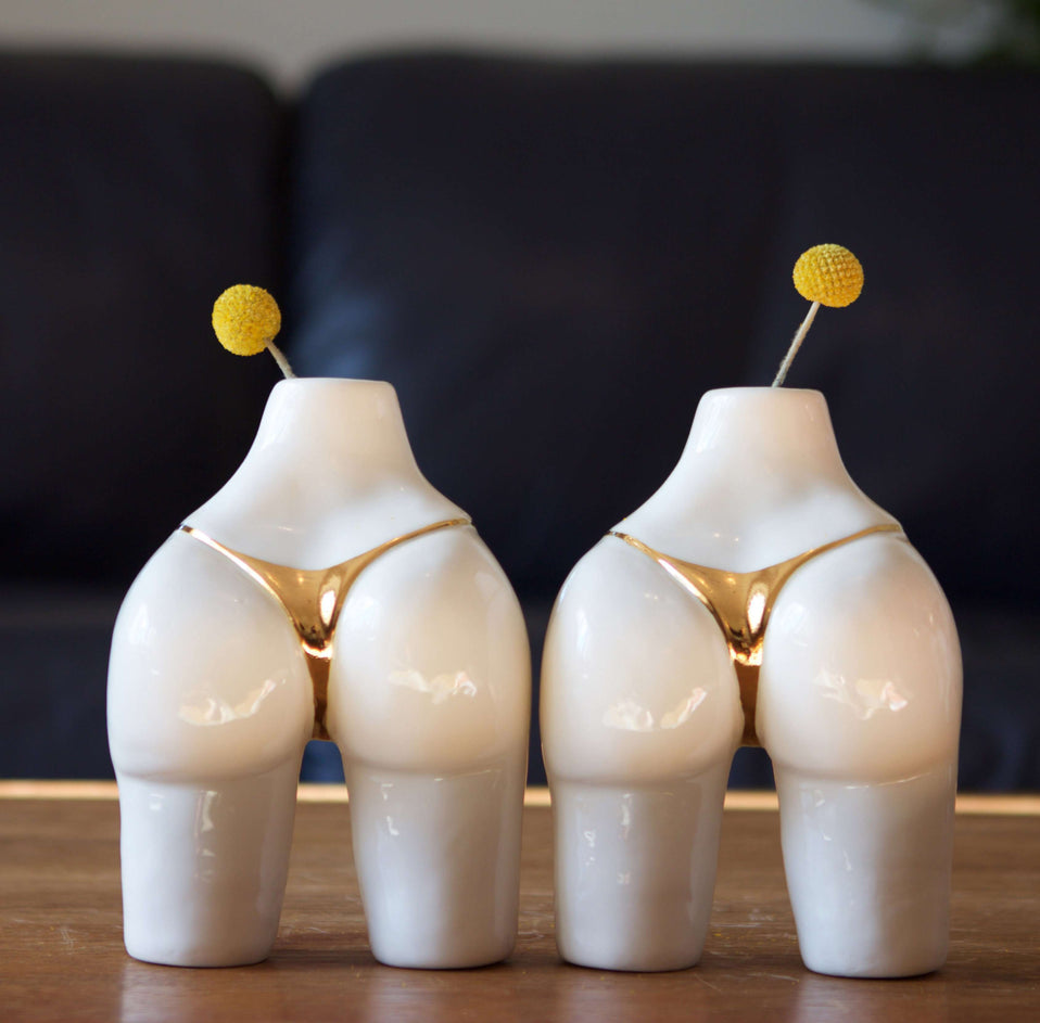 The Porcelain Gold Bikini Booty Vase 6""
