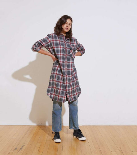 The Pepper LS Dress in Navy Red Plaid