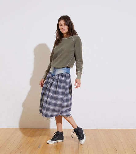 The Remy Skirt in Navy Plaid
