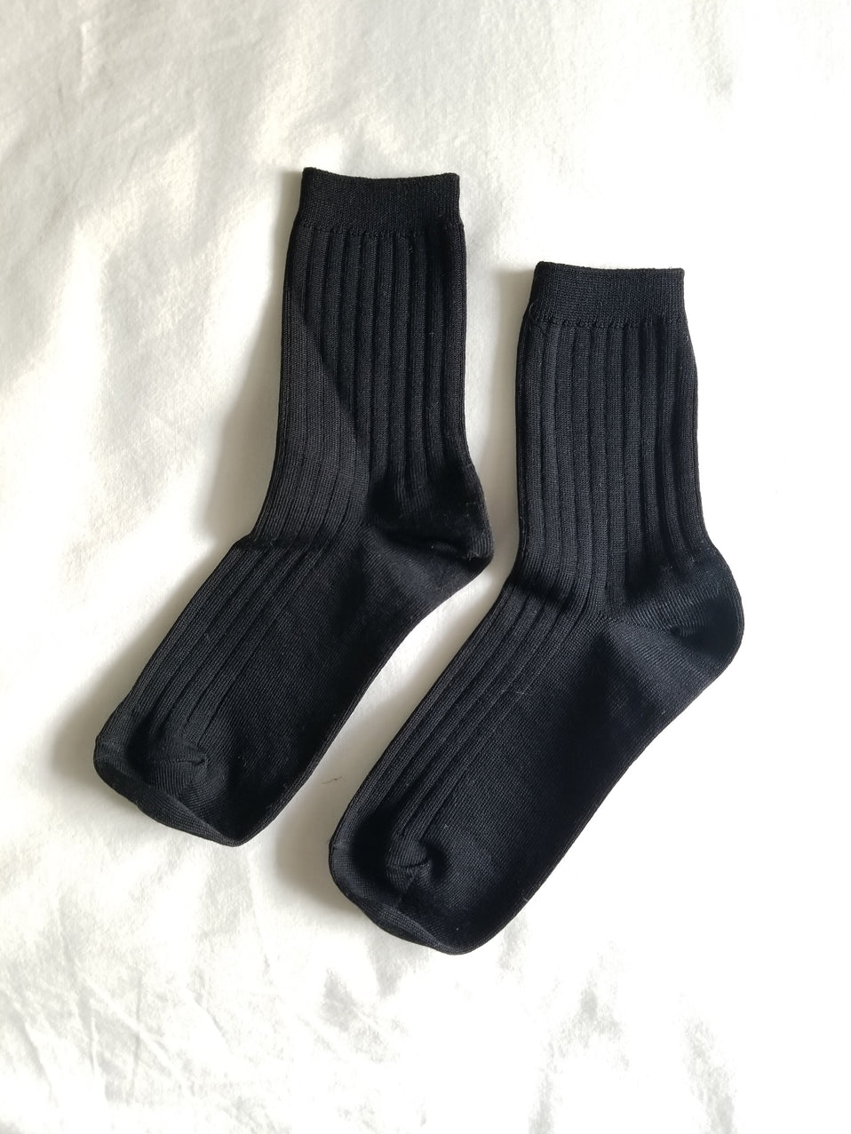 The Mercerized Cotton Socks in True Black