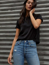 Load image into Gallery viewer, The Marie Sateen Crop Top in Black
