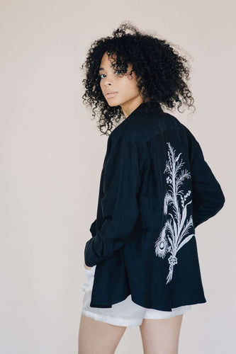 The Embroidered Shirt in Black