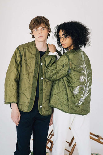 The Embroidered Liner Jacket in Green