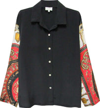 Load image into Gallery viewer, The Vintage Scarf Shirt in Black