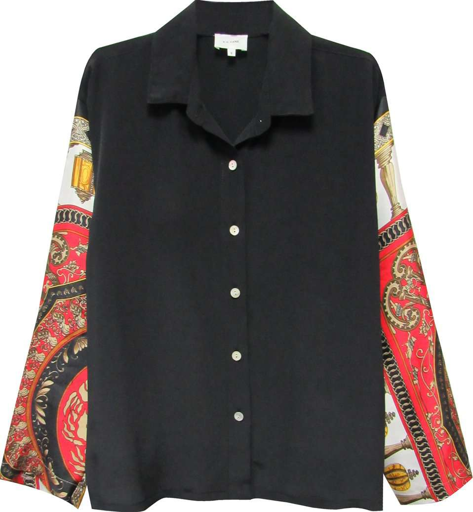 The Vintage Scarf Shirt in Black