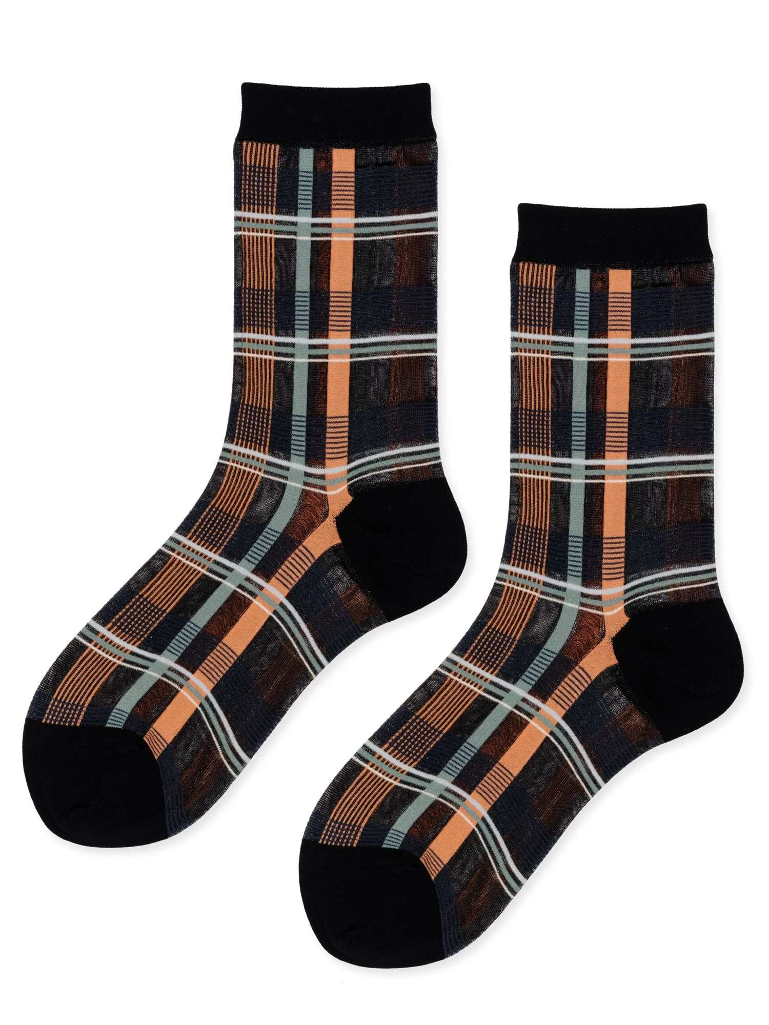 The Plaid Sheer Sock in Black