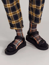 Load image into Gallery viewer, The Plaid Sheer Sock in Black