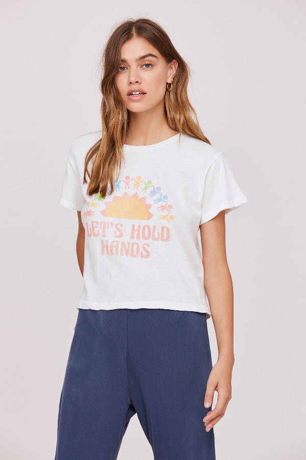 The Lets Hold Hands Tee in Lily White