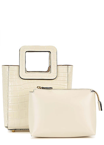 The Mini Shirley Leather Bag in Cream