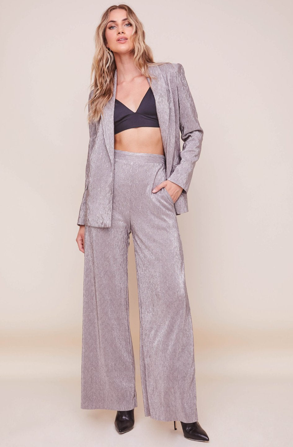 The Aileen Wide Leg Pant in Pewter