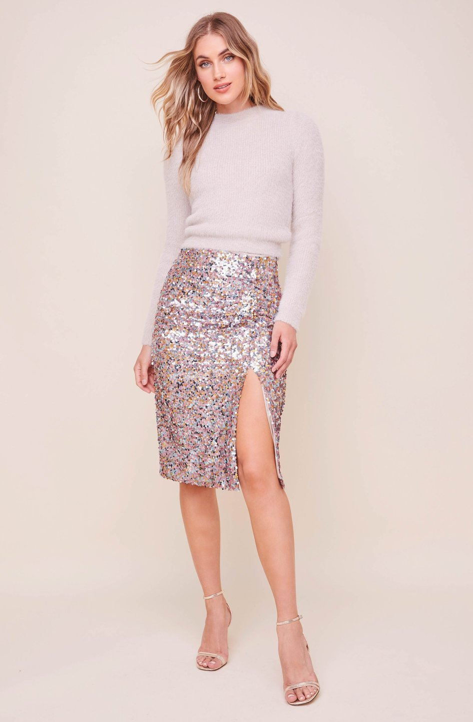 The Elaine Midi Skirt in Sequin