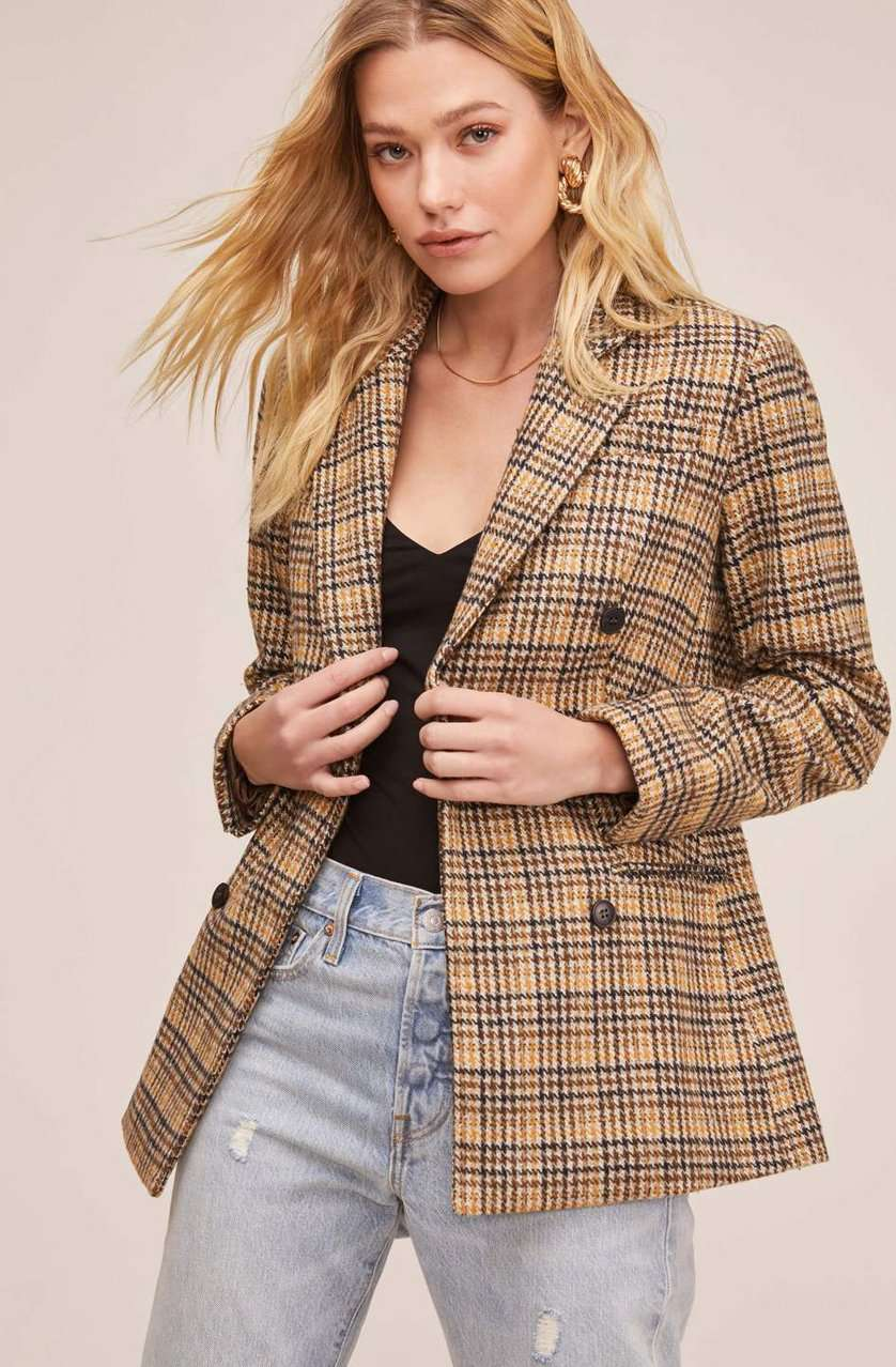 The Greta Blazer in Mustard Plaid