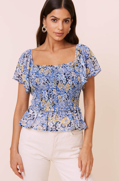 The January Top in Navy Floral