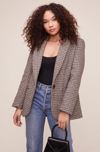 The Harlow Blazer in Hazelnut Plaid