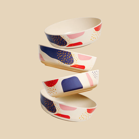 The Bamboo Bowl Set in Dots and Marks