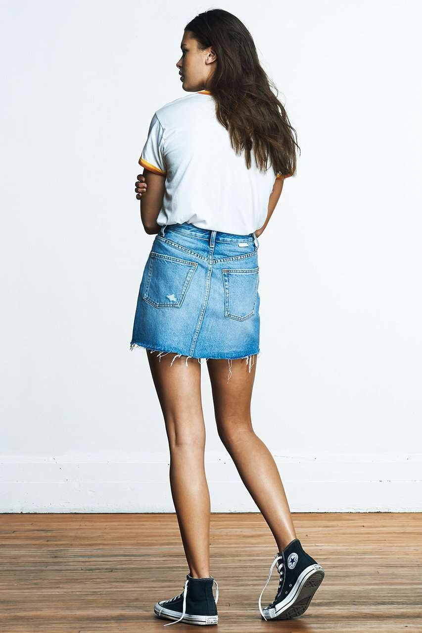 The Corey Denim Skirt in Don't Look Now
