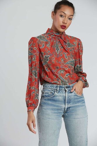 The Tess Mcgill Top in Red Paisley
