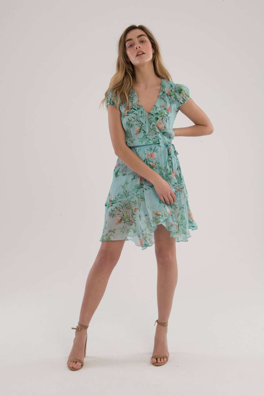 The Ruffle Mini Wrap Dress in Blue Floral