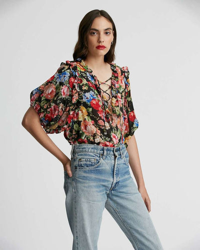 The Ruffle Lace Blouse in Black Floral