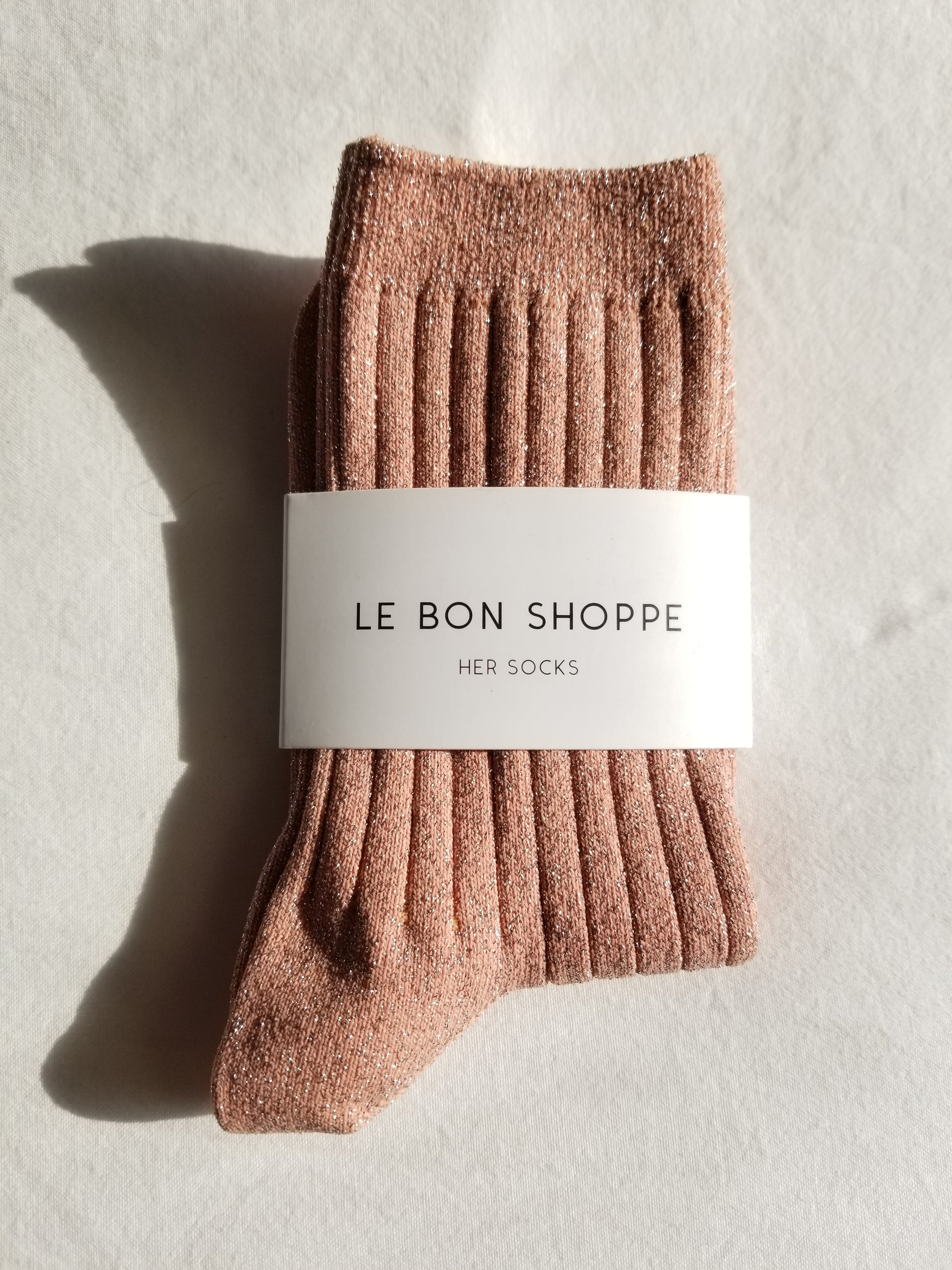 The Lurex Socks in Coral Glitter
