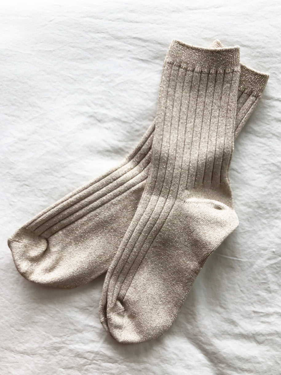 The Lurex Socks in Pearl