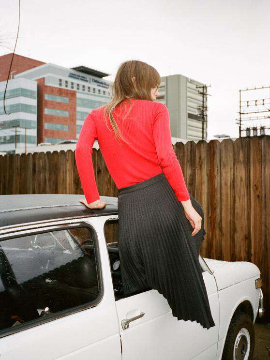 The L/S Crew Neck Top in Red