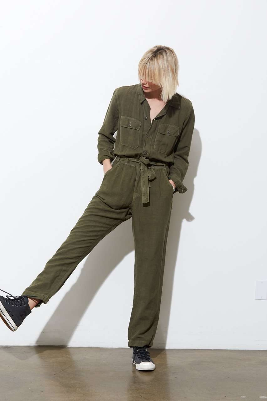 The Mikoh Highwaist Jumpsuit in Khaki