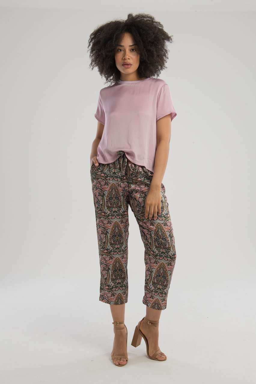 The Marie Sateen Crop Top in Lilac