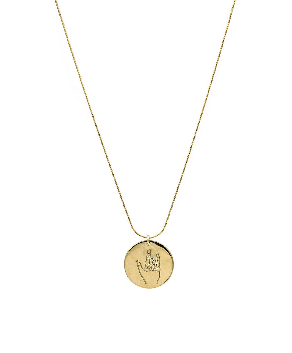 The Sign Circle Coin Necklace in I Love You