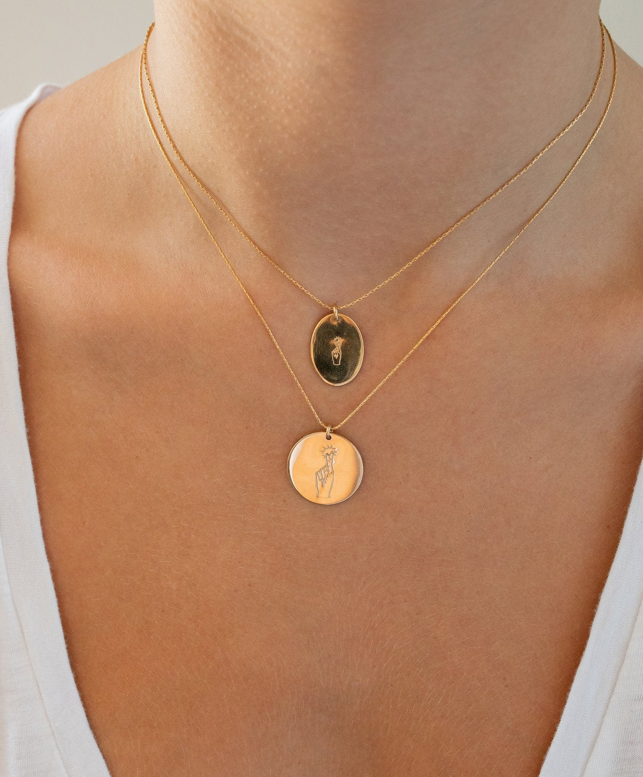 The Sign Circle Coin Necklace in Fingers Crossed