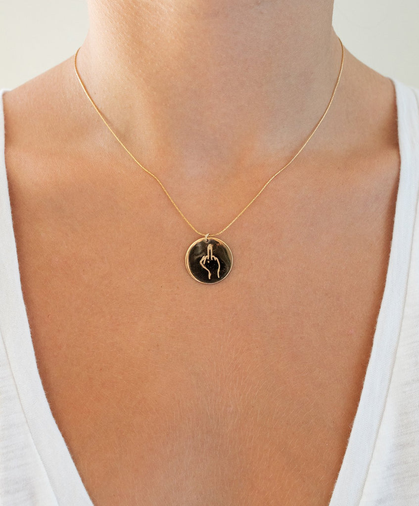 Coin-Necklace-Middle-Finger/Twiin
