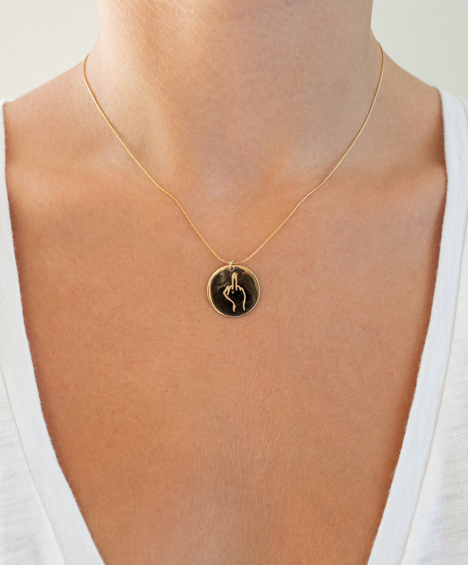 The Sign Circle Coin Necklace in Middle Finger