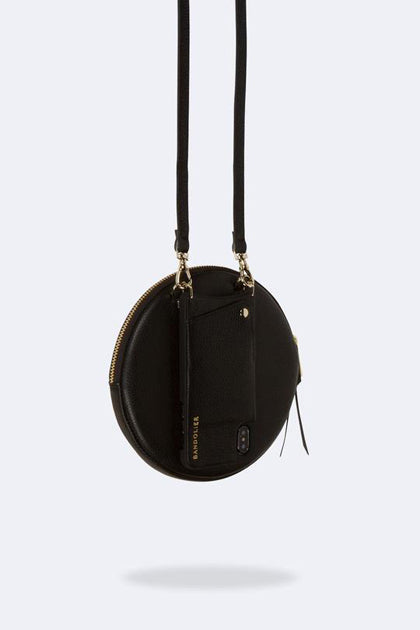 The Large Round Pouch in Black/Gold